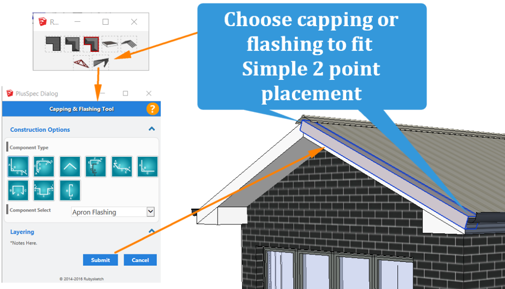 capping and flashing tool in Sketchup PlusSpec