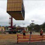 crane lifting modular home