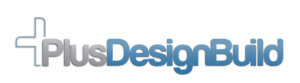 Grey and Blue PlusDesignBuild logo
